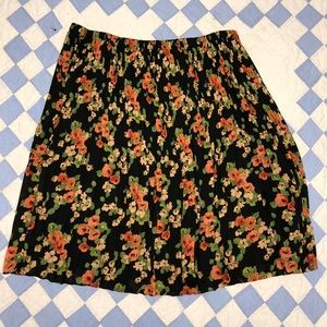 Cute Pleated Floral Skirt